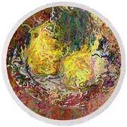 Expressionist 2 Messy Pears Round Beach Towel