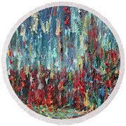 Expressionist Cat Oil Painting.1 Round Beach Towel