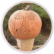 Expressive Pumpkin Round Beach Towel