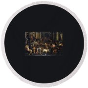 Expulsion Of Merchants From The Temple Round Beach Towel