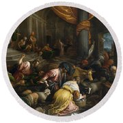 Expulsion Of The Merchants From The Temple Round Beach Towel
