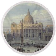 Exterior Of St Peters In Rome From The Piazza Round Beach Towel