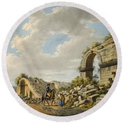 Exterior Of The Ruined Roman Theatre Round Beach Towel