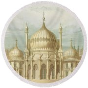 Exterior Of The Saloon From Views Of The Royal Pavilion Round Beach Towel by John Nash