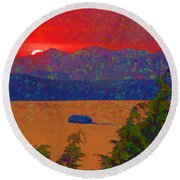 Extreme Sunset Round Beach Towel