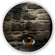 Eye In Brick Wall Round Beach Towel