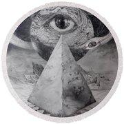 Eye Of The Dark Star - Journey Through The Wormhole Round Beach Towel