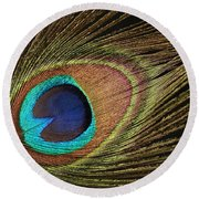 Eye Of The Peacock #5 Round Beach Towel