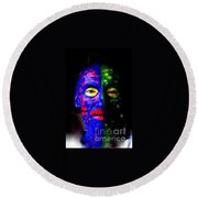 Eye See Colors Mardi Gras Hand Painted Face Round Beach Towel