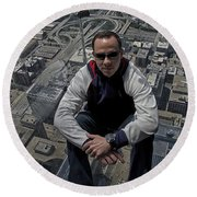 Eyes Down From The 103rd Floor Just Sitting Around Round Beach Towel