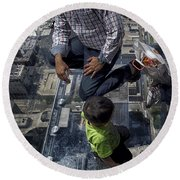Eyes Down From The 103rd Floor Little Dude With No Fear Round Beach Towel