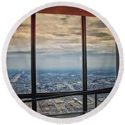 Eyes Down From The 103rd Floor Looking South Round Beach Towel