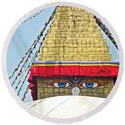 Eyes Of Buudha Boudhanath Stupa In Kathmandu-nepal  Round Beach Towel