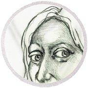 Eyes - The Sketchbook Series Round Beach Towel by Michelle Calkins