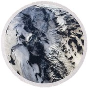 Eyjafjallajokull And The Glacier Round Beach Towel