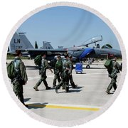 F-15 Pilots Of The 48th Fighter Wing Round Beach Towel