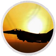 F-16 Fighting Falcon Flying Over Korea Round Beach Towel