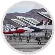 F-16c Thunderbirds On The Ramp Round Beach Towel by Terry Moore