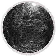 Pen And Ink Clouds 1 Round Beach Towel