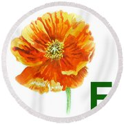 F Stands For Flower Art Alphabet For Kids Room Round Beach Towel