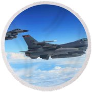 F16 Fighting Falcons Round Beach Towel