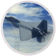 F22  Raptor Climbing In The Clouds Round Beach Towel