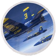 Fa-18 Hornets Of The Blue Angels Fly Round Beach Towel