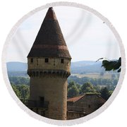 Fabry Tower - Cluny - Burgundy Round Beach Towel