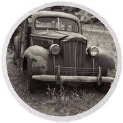 Fabulous Vintage Car Black And White Round Beach Towel