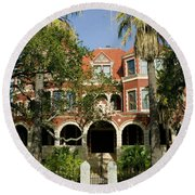 Facade Of A Museum, Moody Mansion Round Beach Towel