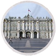 Facade Of A Museum, State Hermitage Round Beach Towel
