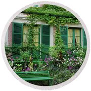 Facade Of Claude Monets House, Giverny Round Beach Towel