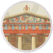 Facade Of The Temple Of Jupiter Round Beach Towel
