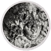 Face Carved In Stone Round Beach Towel