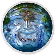 Face In Glass Round Beach Towel