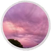 Face In The Clouds 1 Round Beach Towel
