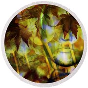 Face In The Rock Dreams Of Tulips Round Beach Towel