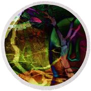 Face In The Rock Moon Glow And Night Vision Round Beach Towel