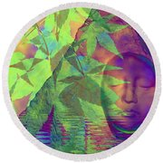 Face In The Rock With Maple Leaves Round Beach Towel