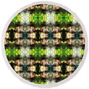 Face In The Stained Glass Tiled Round Beach Towel