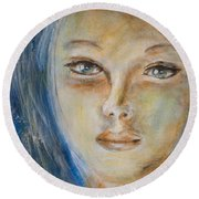 Face Of An Angel Round Beach Towel