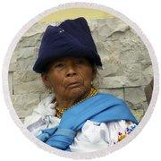 Face Of Ecuador Woman At Cotacachi Round Beach Towel