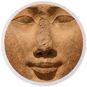 Face Of Hathor Round Beach Towel