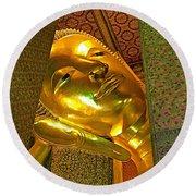 Face Of Reclining Buddha In Wat Po In Bangkok-thailand Round Beach Towel
