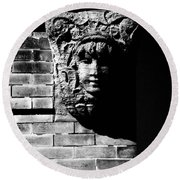Face Of Stone Round Beach Towel