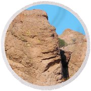 Face Of The Monolith Round Beach Towel