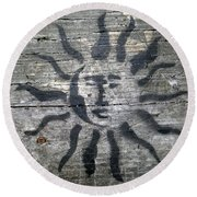 Face Of The Sun Round Beach Towel