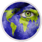 Face The World Map Round Beach Towel