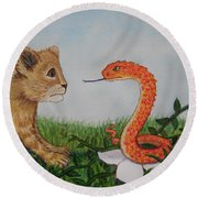 Face To Face Were A Lion And Snake Round Beach Towel