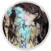 Faceless Girl With Her Crow Round Beach Towel